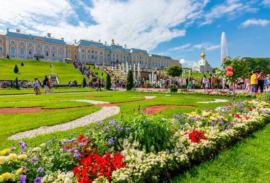 Saint Petersburg, Russia - June 2019: Grand Peterhof Palace and Lower park