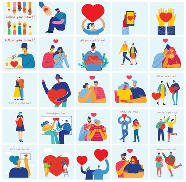 Vector Valentine illustration cards of happy couples in love