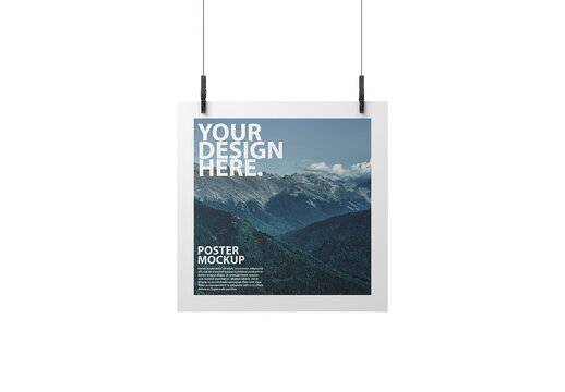 Square Poster Hanging on Clothespins Mockup