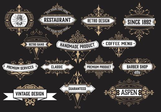Set of 14 Vintage Logos and Badges