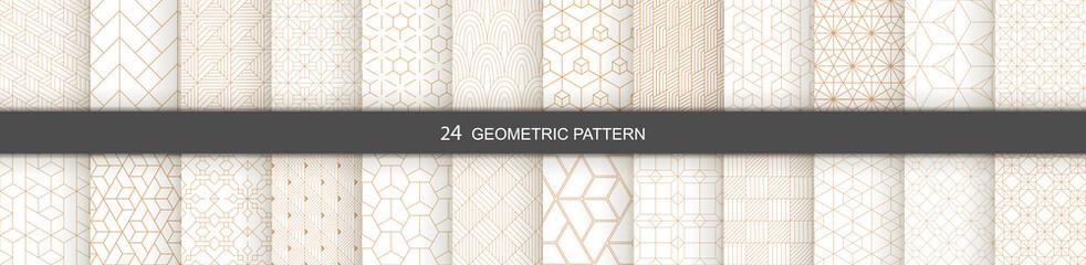 Fototapeta Set of vector Geometric seamless patterns. Abstract geometric  hexagonal  graphic design print 3d cubes pattern. Seamless  geometric cubes pattern.