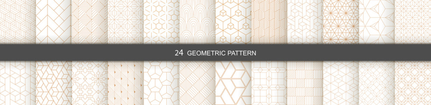 Set of vector Geometric seamless patterns. Abstract geometric  hexagonal  graphic design print 3d cubes pattern. Seamless  geometric cubes pattern.
