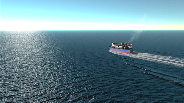container Cargo ship in the open sea- aerial view ,export goods from cargo yard port to custom ocean concept freight shipping by ship .