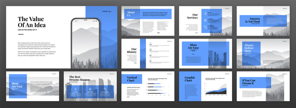 Creative powerpoint presentation templates set. Use for modern keynote presentation background, brochure design, website slider, landing page, annual report, company profile.