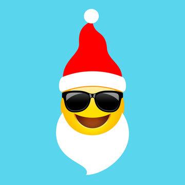 Vector Santa emoji cartoon