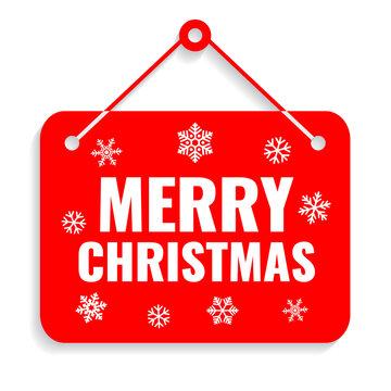 Merry Christmas red door sign