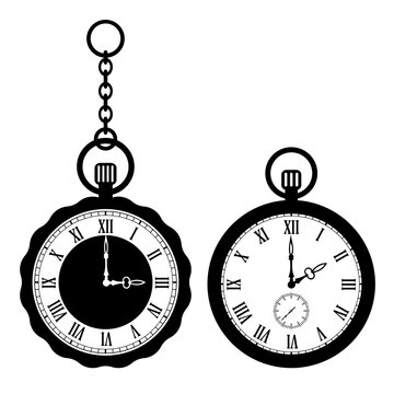 Old pocket watch vector icon
