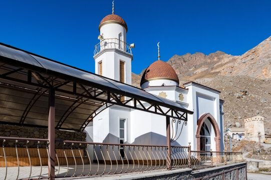 Mosque in mountains in balkar village in North Caucasus