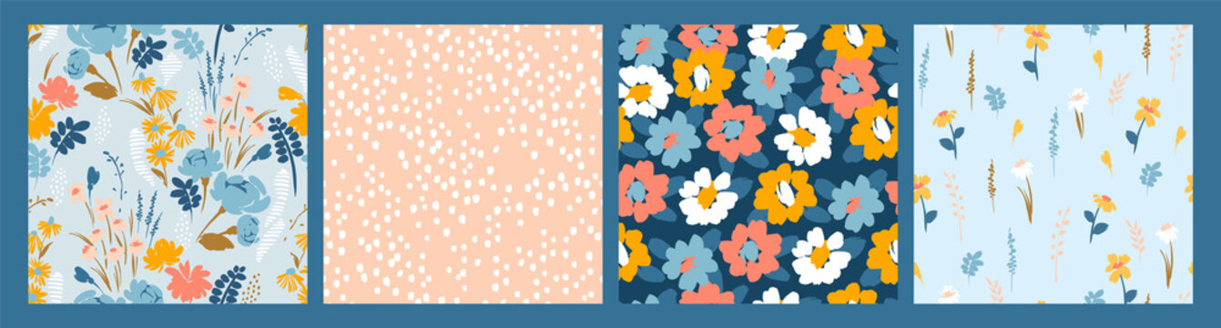 Set of floral seamless patterns. Vector design for paper, cover, fabric, interior decor and other use