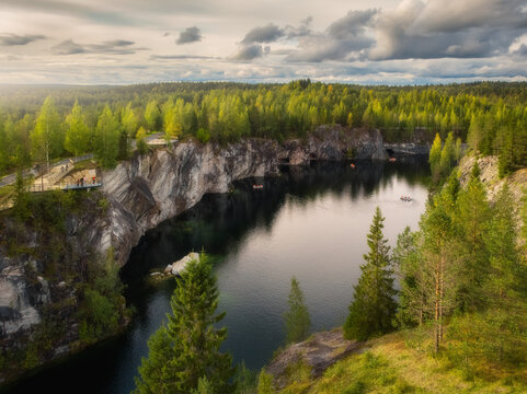 Aerial drone view to Marble canyon in Ruskeala Nature Reserve in Republic of Karelia, North Russia