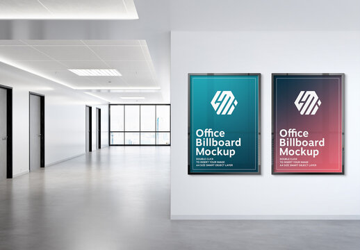 2 Vertical Frames Hanging on Office Wall Mockup