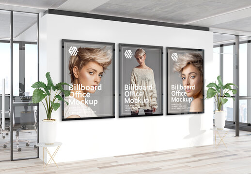 3 Vertical Frames Hanging on Office Wall Mockup