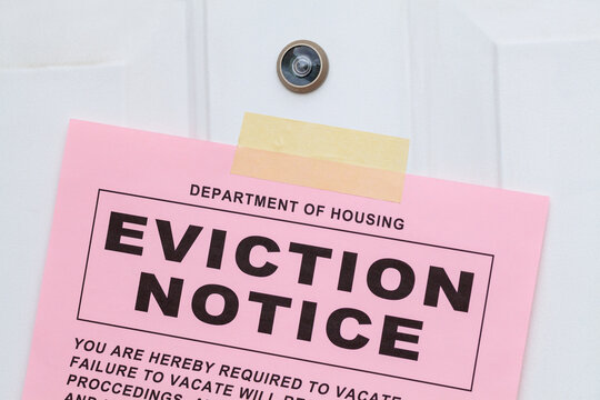 Eviction Notice on Door Close up