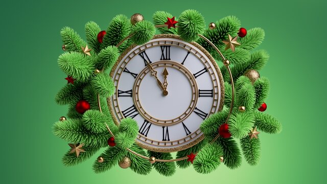 3d render, Christmas clock decorated with coniferous garland, five minutes before the midnight, isolated on green background