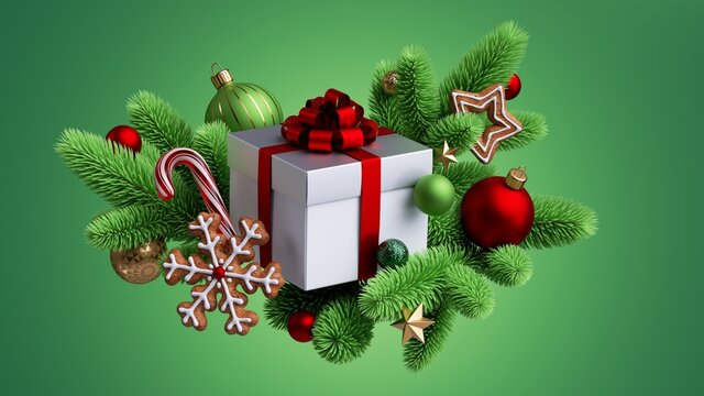3d render, Christmas illustration isolated on green background. White square box wrapped with red ribbon bow; decorated with fir tree twigs, glass balls, candy cane, gingerbread cookies
