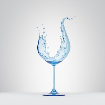 3d render, water splash in the shape of wineglass, pure liquid splashing clip art isolated on white background