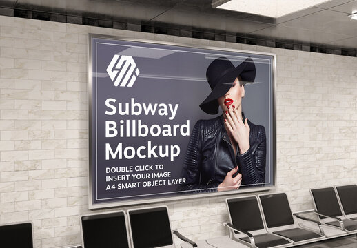 Billboard on Subway Station Wall Mockup