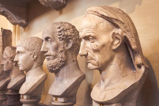 Classic statues perspective in Vatican Museum, Vatican City, Rome