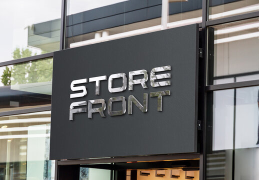 3D Logo with Reflective Sheen on a Storefront Mockup