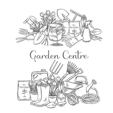 Gardening tools vector outline hand drawn monochrome illustrations set with lettering for design garden center