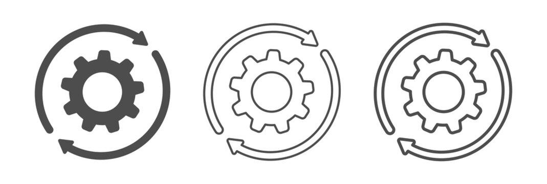 Sync process, gear wheels icons . Setting , vector illustration.
