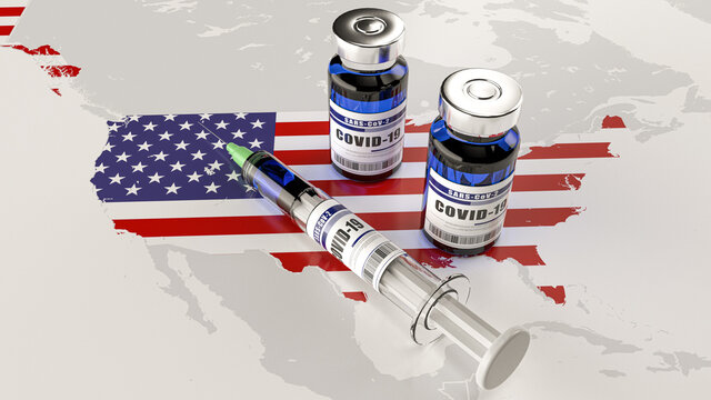 A syringe and two bottles of COVID-19 vaccine on USA map. Covid vaccination in the United States. 3d illustration