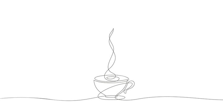 Coffee cup on saucer Continuous one line drawing, Hot drink with steam Vector minimalist linear illustration made of thin single line, Design element for cafe menu