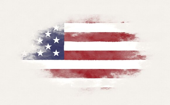 Painted national flag of the United States of America.
