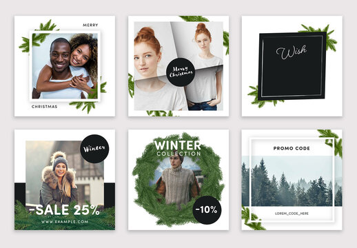 Elegant Christmas Social Media Layouts with Green Branch Illustrations