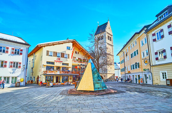 Central city square, on February 28 in Zell am See, Austria