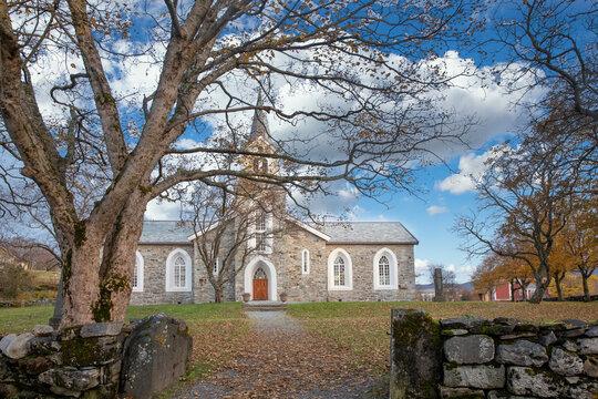 Brønnøysund church in autumn time