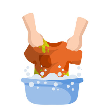 Washing clothes in basin of soapy water. Household chores. Clean and wash. Stain removal. Flat cartoon illustration. Hands holding t-shirt