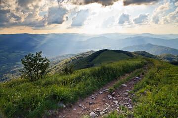 Letnie słońce oświetla górskie szczyty w czasie ciepłego wakacyjnego dnia, Bieszczady, Polska,