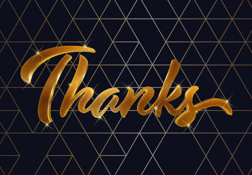 Gold Thankful Text Effect with Geometric Background