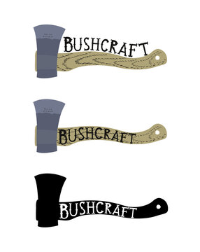 Isolated logo of ax with wooden handle in flat style with letters bushcraft on it. Three options