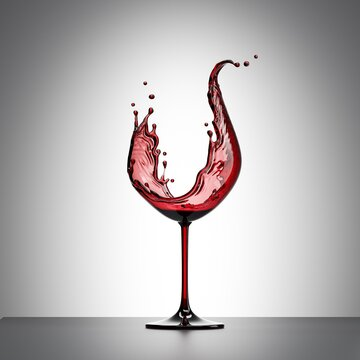 3d render, red wine splash in the shape of wineglass, alcohol drink liquid splashing clip art isolated on white background