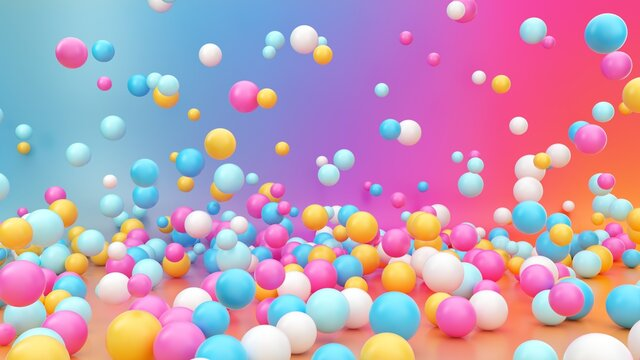 3d render, pink blue yellow white balloons, assorted colorful balls falling down, jumping, bouncing, flying or levitating inside empty room over gradient background. Modern fun concept.