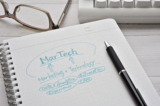 "There is a keyboard on the desk, a pair of glasses and a notebook with a ""Martech"" diagram on it. It's a term coined from marketing and technology."