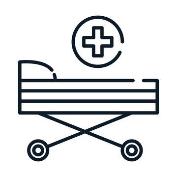 health medical stretcher equipment line icon