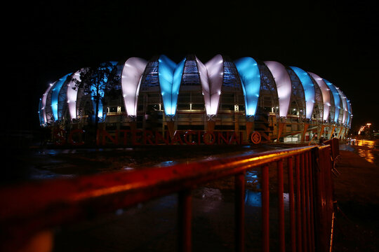 General view of the Beira-Rio stadium with the colours of Argentina in tribute to Diego Maradona in Porto Alegre