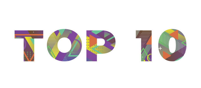 Top 10 Concept Retro Colorful Word Art Illustration