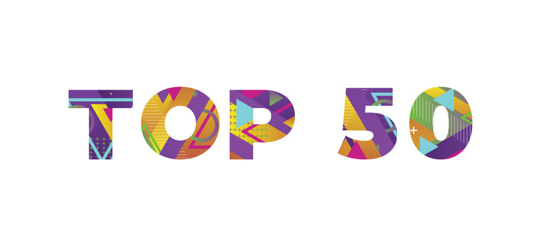 Top 50 Concept Retro Colorful Word Art Illustration