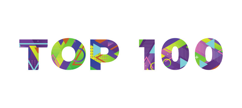 Top 100 Concept Retro Colorful Word Art Illustration