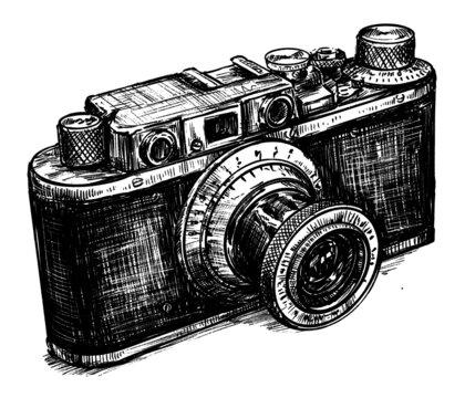 Sketch of vintage camera hand draw