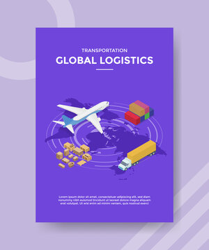 transportation global logistics plane truck container box package for template flyer and print banner cover book books modern flat style