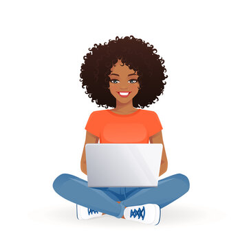 Young african woman using laptop computer sitting in lotus pose with crossed legs isolated vector illustration