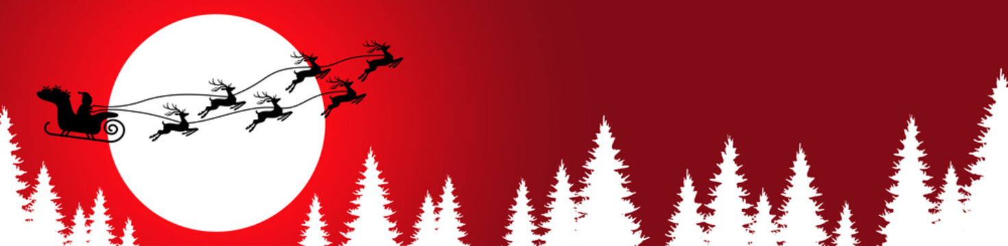 Santa Claus with reindeer fly high