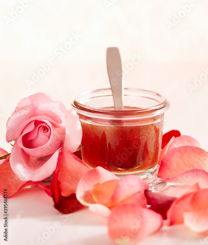 Rose honey win a jar with rose water and dried rose petals