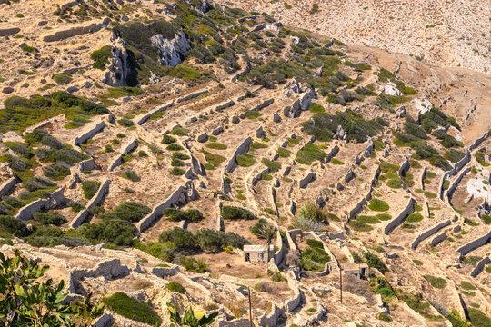 Terrace hills on the island of Folegandros. Cyclades, Greece