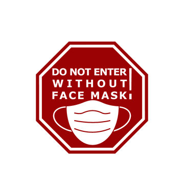 Do not enter without face mask red sign icon isolated on white background